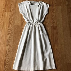 Vintage midi white dress fit and flared 70's
